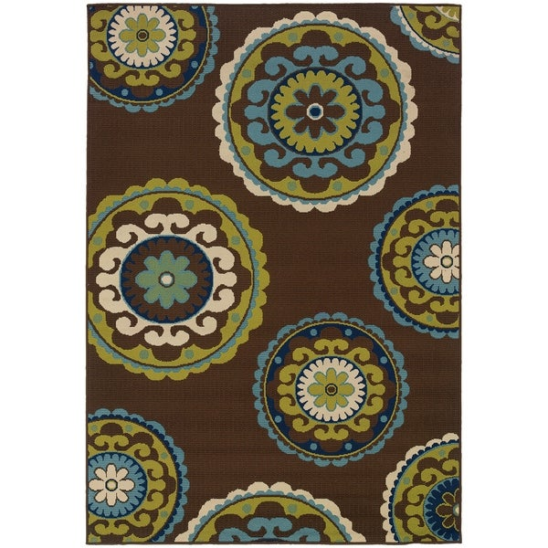 "Rectangle Rug/ Caspian 1 Ft. 9 In. X 3 Ft. 9 In./ Outdoor/ Floral - 1'9"" x 3'9"""
