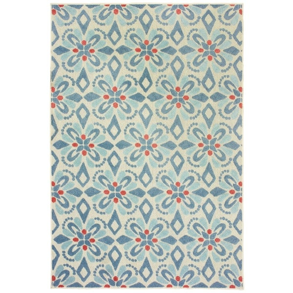 """Rectangle Rug/ Barbados 6 Ft. 7 In. X 9 Ft. 6 In./ Outdoor/ Floral - 6'7"""" x 9'6"""""""