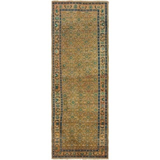 Hand Knotted Farahan Semi Antique Wool Runner Rug - 3' 8 x 11'