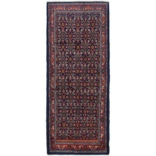 Hand Knotted Farahan Semi Antique Wool Runner Rug - 3' 10 x 10'