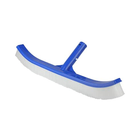 """17.5"""" Blue Standard Curve Nylon Bristle Wall Brush with Aluminum Support - White"""