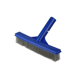"9.75"" Blue Stainless Steel Algae Brush for Cement Pools - Silver"