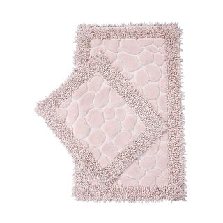 "Chiara Rose Luxury Soft Turkish Cotton Oversized (23""x40""and 23""x19"") 2 Piece Bath-Mat Set Machine Washable Absorbent Quick-Dry"