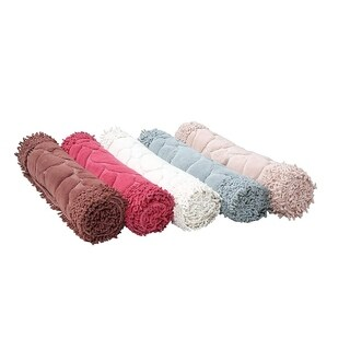 Chiara Rose Soft Cotton Bath-Mat Set, 2 Piece, Machine Washable, Absorbent, Quick-Dry, Shower Step Out Rug - 23x40/23x19