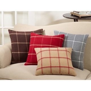 Down-Filled Polyester Throw Pillow With Plaid Flannel Design