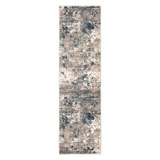 "Alma Abstract Blue/ Gray Runner Rug - 2'3"" x 8' Runner"