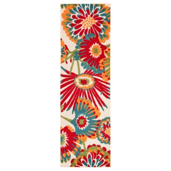 "Tifton Indoor/ Outdoor Floral Multicolor Runner Rug - 2'6"" x 8' Runner"