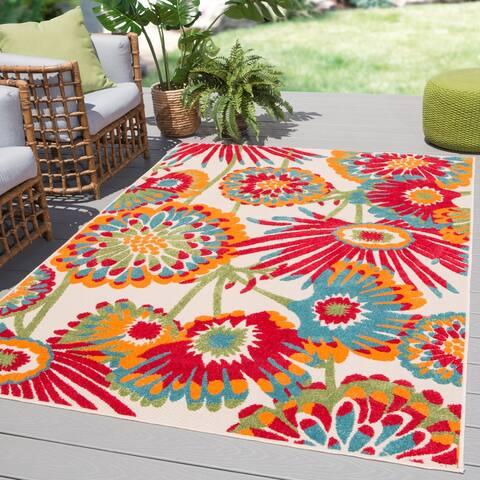 """Tifton Indoor/ Outdoor Floral Multicolor Area Rug - 5'3"""" x 7'6"""""""