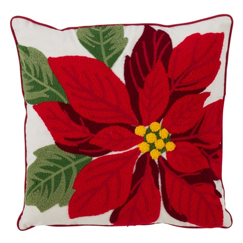Poly And Cotton Blend Accent Pillow With Down Filling And Poinsettia Design