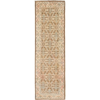 Hand Knotted Farahan Semi Antique Wool Runner Rug - 3' 7 x 11' 10