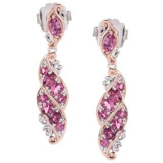 Michael Valitutti Palladium Silver Pink Tourmaline Twisted Ribbon Dangle Earrings