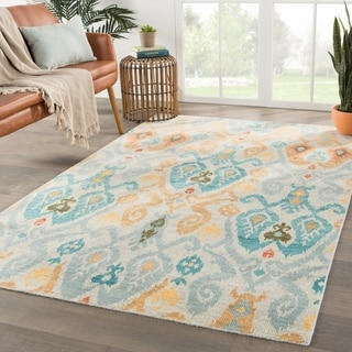 """Lyndon Hand-Knotted Ikat Blue/ Yellow Area Rug - 7'10"""" x 9'10"""""""