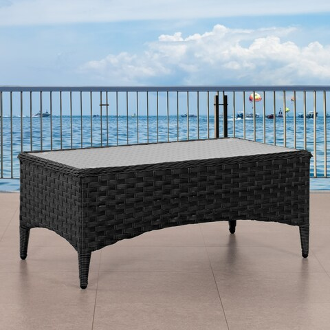 Parkview Wide Rattan Wicker Patio Coffee Table with Glass Table Top