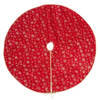 Organza Christmas Tree Skirt With Gold Snowflakes