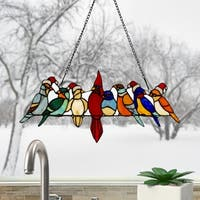 River of Goods Holiday Birds Hanging Stained Glass Window Panel
