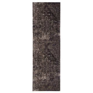 "The Curated Nomad Clarion Indoor/ Outdoor Medallion Blue/ Black Runner Rug - 2'6"" x 8' Runner"