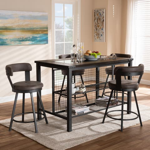 Carbon Loft Goddard Industrial Grey Fabric 5-piece Pub Set