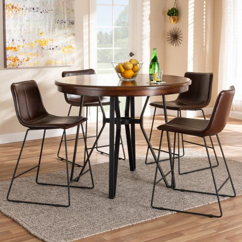 Carbon Loft Bode Industrial Dark Brown Faux Leather 5-piece Pub Set