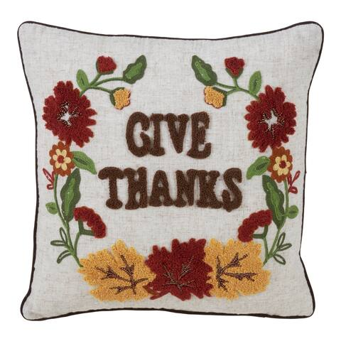 Give Thanks Poly Blend Decorative Pillow With Down Filling