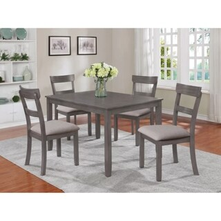 Grey Modern 5 pc Rectangular Dining Set with 4 Upholstered Chairs All Made from Environmental Friendly Wood and Okoume Veneer