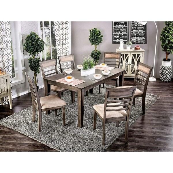 Shop Grey, Brown And Beige Indoor Rustic 7 Pc Rectangular
