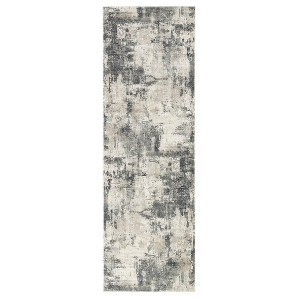 "Tempesta Abstract Gray/ Gold Runner Rug - 2'8"" x 8' Runner"