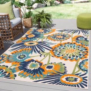 "Tifton Indoor/ Outdoor Floral Multicolor Area Rug - 7'4"" x 9'6"""