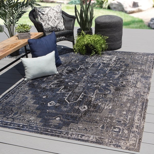 The Curated Nomad Clarion Indoor/ Outdoor Medallion Blue/ Black Area Rug - 2' x 3'