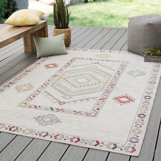 Santa Fe Indoor/ Outdoor Medallion Ivory/ Multicolor Area Rug - 2' x 3'