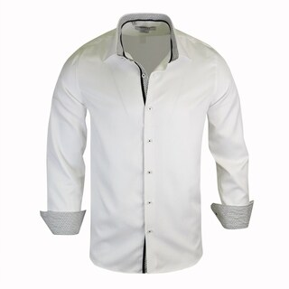 Monza White Shirt With Printed Contrast Tailored-Fit Dress Shirt