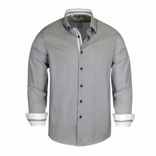 Monza Wash Black Pattern With White Contrasted Tailored-Fit Dress Shirt