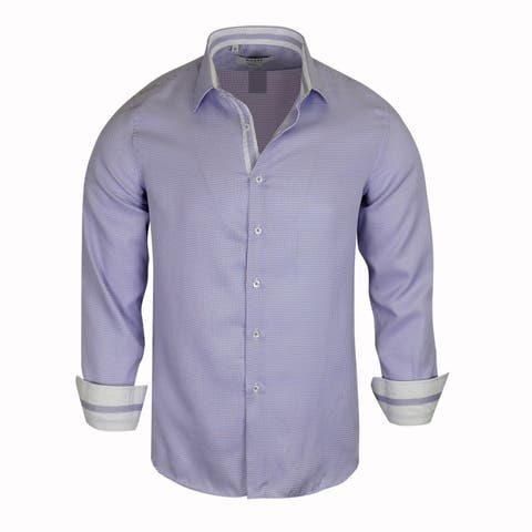 Monza Small Checked Pattern With Solid Contrasted Dress Shirt