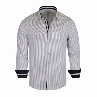 Monza White Pattern With Multi Color Strips Tailored Fit Dress Shirt