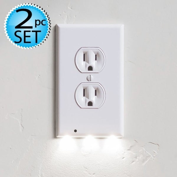 Shop 2 Wall Outlet Led Night Light Easy Snap On Outlet Cover Plate