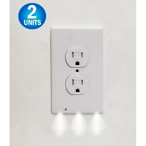 2 Wall Outlet LED Night Light Easy Snap On Outlet Cover Plate No Wires Battery - White