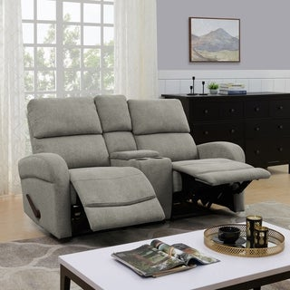 ProLounger Grey Chenille 2 Seat Recliner Loveseat with Power Storage Console