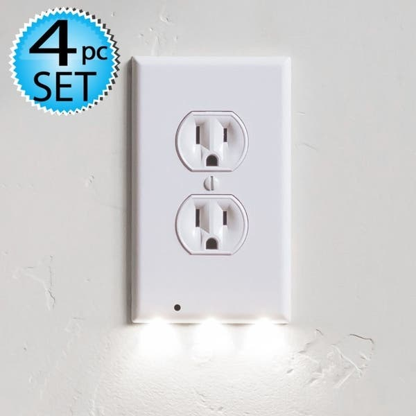 4 Wall Outlet Led Night Light Easy Snap On Cover