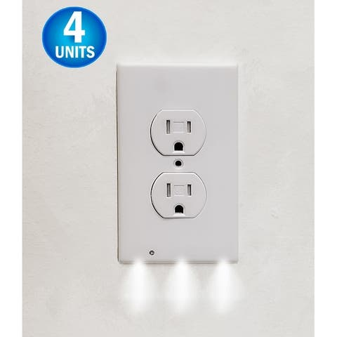 4 Wall Outlet LED Night Light Easy Snap On Outlet Cover Plate No Wires Battery - White