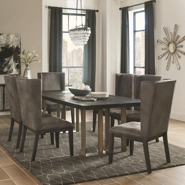 Shop Modern Design Black Wood Top Dining Set With Grey