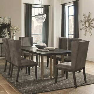 Modern Design Black Wood Top Dining Set with Grey Wing Back Chairs