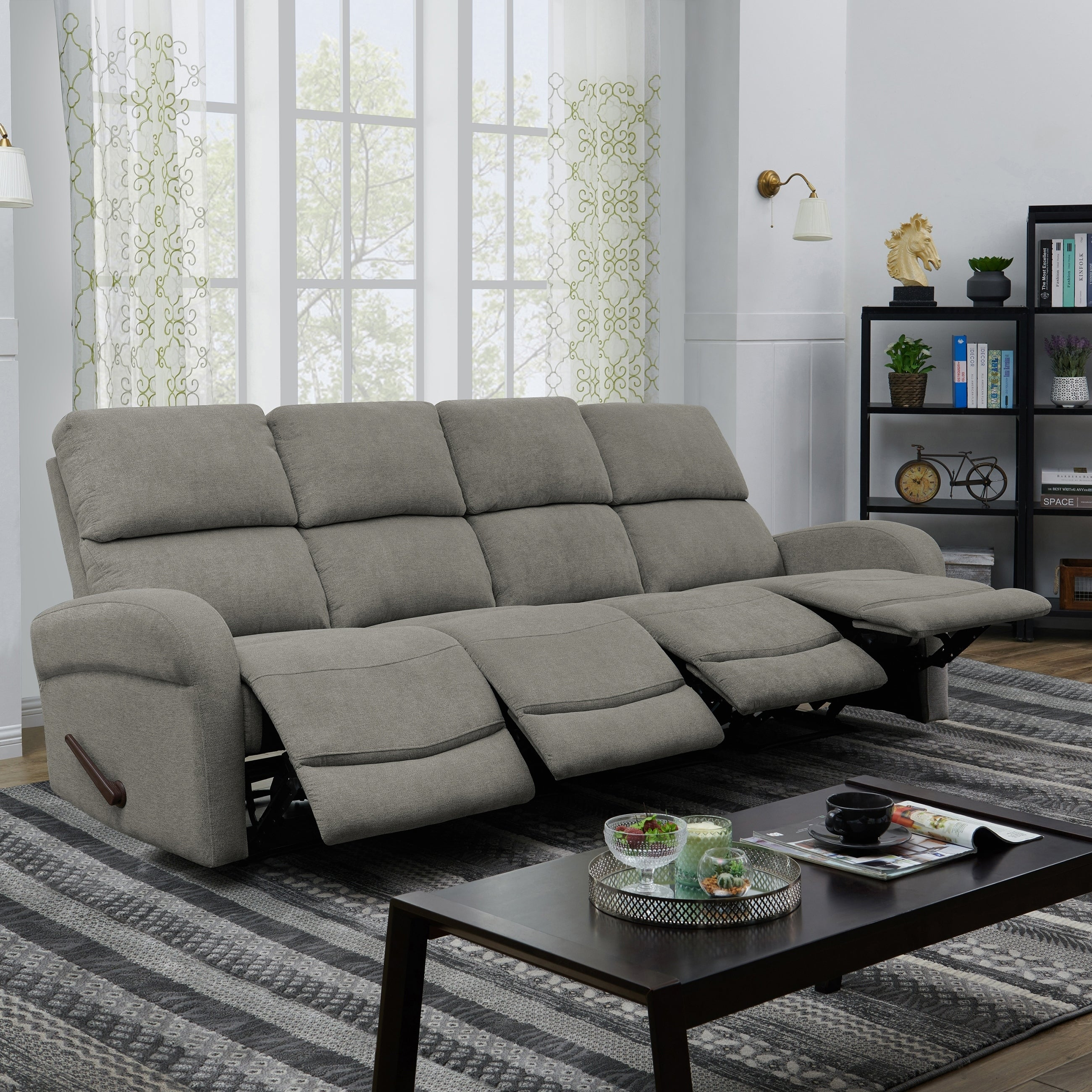 Copper Grove Herentals Grey Chenille 4-seat Recliner Sofa