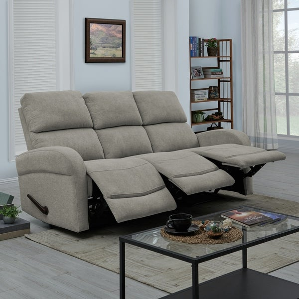 Shop ProLounger Grey Chenille 3 Seat Recliner Sofa - On ...
