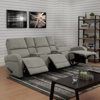 ProLounger Grey Chenille 3 Seat Recliner Sofa with Power Storage Consoles