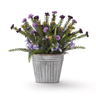Purple and Lavender Wild Flowers in Oval Metal Planter