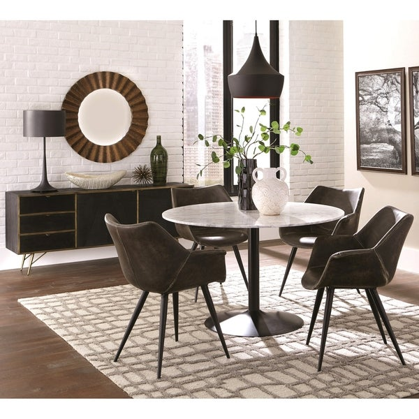Dining Set With Buffet: Shop Rond Itialian Carrara Marble Top Dining Set With