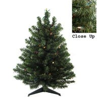 "18"" Pre-Lit Natural Two-Tone Canadian Pine Artificial Christmas Tree - Multi Lights"