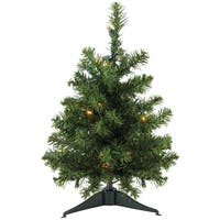 "18"" Pre-Lit LED Natural Two-Tone Canadian Pine Artificial Christmas Tree - Clear Lights"