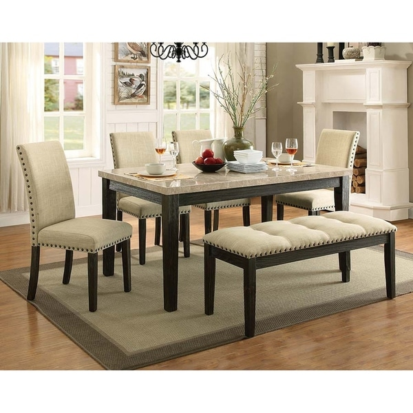 Beige, White And Black Indoor Faux Marble Rectangular Dining Set, 4  Upholstered Chairs And