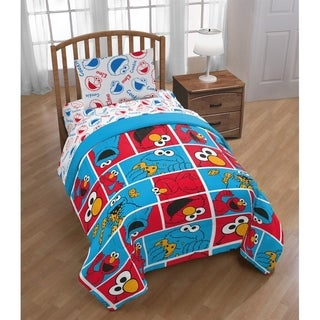 Shop Sesame Street Cookie Squares Twin Sheet Set - On Sale