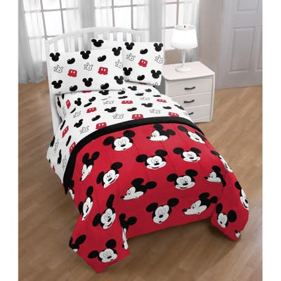 Disney Mickey Mouse Cute Faces 4 Piece Twin Bed Set